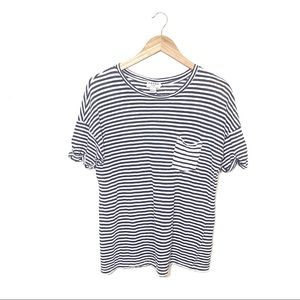Frame Navy /White Striped Linen Pocket Tee Size XS
